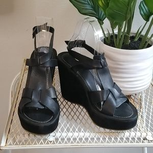 Bronx Women's Black Platform Sandals 6.5